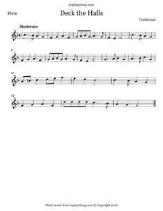 Deck the Halls. Free sheet music for flute. Visit toplayalong.com and get access to hundreds of scores for flute with backing tracks to playalong.