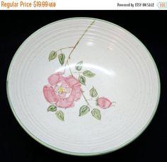 ON SALE Metlox CALIFORNIA Rose Round Vegetable Serving Bowl Dinnerware PoppyTrail Mid Century Modern Pink Flowers Green Leaves & Trim Excell by libertyhallgirl on Etsy $19.99