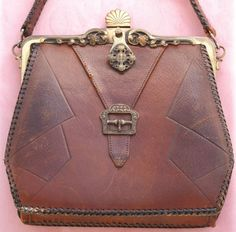 1918 Arts & Crafts Tooled Leather Purse with Meeker frame