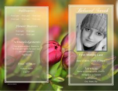This sample Funeral Program template from the Floral Collection is simply lovely. The vibrant colors and gentle blooms in this garden assures that although fleeting, life is enduring.