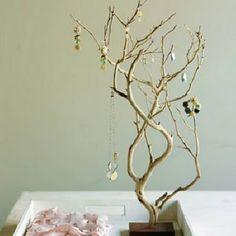Handmade twig jewellery hanger