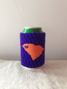 Have to be Carolina though ; Sc Crochet, Crochet Cozy, Clemson South Carolina, Disposable Coffee Cups, Coffee Cup Cozy, Mild Soap, Embroidery Thread, Crochet Patterns, Beer Koozie