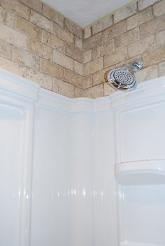 Stuck With A Pre Fab, Insert Shower Liner? Add Tile Or Brick Above