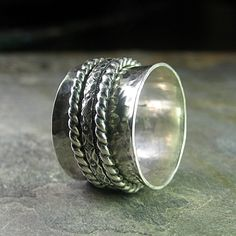 Sterling slver meditation ring with 3 spinners    ....from LavenderCottage on Etsy
