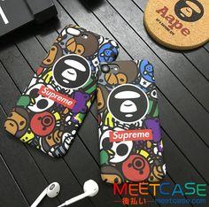 SupremexAape コラボ iphone7 iphone7plusケース 夜光 サル シュプリーム ア・ベイシング・エイプ iphone8ケース 可愛い ハードケース