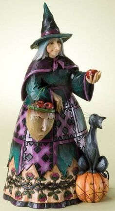 Enesco Jim Shore Heartwood Creek Halloween *Wicked to the Core* Witch Holding an Apple by Jim Shore Heartwood