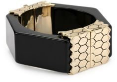 Belle Noel Honey Hexagon Thick Cuff Bracelet Belle Noel. $38.99. Black resin. Keep away from moisture. Made in China. Black resin Made in CN. Yellow gold-plated. Save 50% Off!
