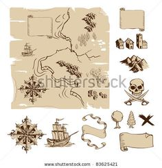 stock vector : Example map and design elements to make your own fantasy or treasure maps. Includes mountains, buildings, trees, compass etc. Treasure Maps For Kids, Make Your Own Map, Pirate Quilt, Lego Dragon, Map Symbols, Map Compass, Map Quilt, Lion Illustration, Map Icons