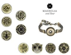 Magnolia and Vine some items in the antique brass collection. Design a style that's right for you with Magnolia and Vine customizable, snap jewelry and accessories. Check out my website... www.mymagnoliaandvine.com/932