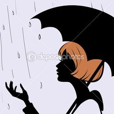 Красивая молодая девушка силуэт лица черный зонтик на дождь — Stock Illustration #5471592