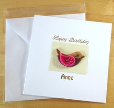 Greeting Card Handmade Personalised Birthday Gift For Her Felt