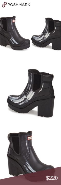"""Hunter Original Nightfall Chelsea Boot The Rain boot of the season for the ever fashionable woman. Round toe. Elasticized side panels. Pull-on. Approx. 5"""" shaft height, 12.5"""" opening circumference. Approx. 2.5"""" heel, 1"""" platform. Hunter Boots Shoes Winter & Rain Boots"""