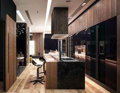 Modern kitchen with black cabinets wood veneer walls and black quartz island Black Kitchen Cabinets, Black Kitchens, Wood Cabinets, Modern Kitchen Design, Kitchen Designs, Black Quartz, Wood Veneer, Design Trends, Walls