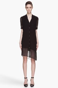 Helmut Black Silk Ghost Smock Dress