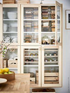 IKEA 365+ brukar i fyrkantigt och rektangulärt glas, TORHAMN vitrindörr, ÖSTERNÄS läderhandtag