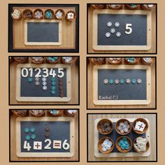 "Reggio Math ideas with buttons: number recognition, counting, simple addition & pattern work (via Stimulating Learning with Rachel ("",) Numeracy Activities, Literacy And Numeracy, Kindergarten Activities, Math Games, Math Centers, Diversity Activities, Numbers Kindergarten, Math Numbers, Preschool Math"