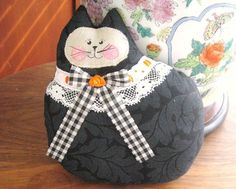ONE Cat Pillow Doll Cloth Doll 7 inch BLACK by CharlotteStyle, $12.00