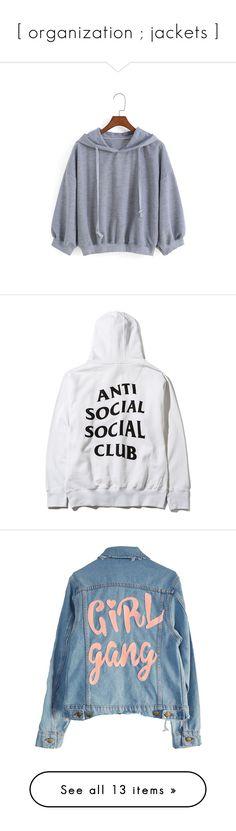 """""""[ organization ; jackets ]"""" by sugarmamiii ❤ liked on Polyvore featuring tops, hoodies, sweatshirts, shirts, jackets, grey, long sleeve sweatshirt, loose long sleeve shirt, long sleeve tops and hooded pullover sweatshirt"""
