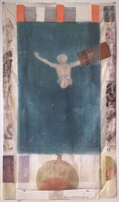 Robert Rauschenberg, Pull (Hoarfrost Edition), 1974, collage including a diver image after a photograph by Morton Beebe.