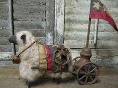 Folk Artist Sue Corlett Primitive Sheep, Primitive Decor, Colonial Decorating, Barn Animals, Sheep Art, Trash To Treasure, July Crafts, Black Sheep, Vintage Santas