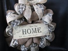 Home wreath,door decor,decoration,family wreath,welcome wreath,chevron wreath,burlap wreath on Etsy, $55.00