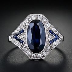 Art Deco sapphire and diamond ring from the archives of Lang Antiques