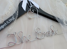 Personalized Wedding Hanger BLACK with Monogram or Heart Charm and Ribbon, Custom Hanger, Name Hanger, Wedding Gift. $27.00, via Etsy.
