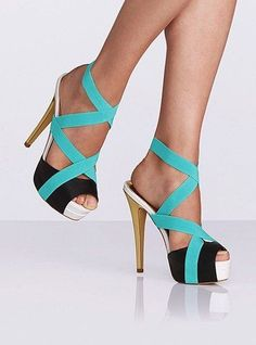 Dresswe.com SUPPLIES Concise Contrast Color Peep-Toe High Heel Summer Sandals   Platform Sandals