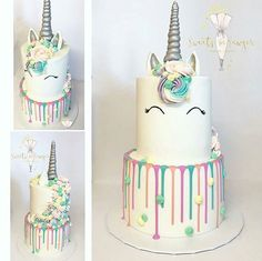 Unicorn Drip Cake, Two Tiers, Pastel And Silver Colours Xo  PinterestX @BreakfastAtChanel Xo (make birthday cake)