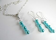 Handmade Blue Pearl Necklace/Matching Earrings Set by TimelessTreasuresbyM on Etsy