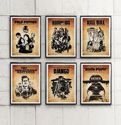 Quentin Tarantino's Collection Movie Poster Set / Kill Bill, Pulp Fiction etc. #Minimalism