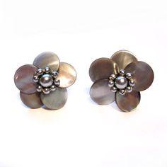 Vintage Mother of Pearl Flower Earrings