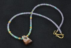 18K GOLD BOULDER OPAL and PERUVIAN OPAL NECKLACE from New World Gems