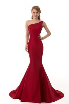 Elegant Burgundy Mermaid One-Shoulder Evening Dress