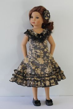 Ruffled Dress - Doll Clothes to fit Maru and Friends and similar bodied 18 inch dolls C67