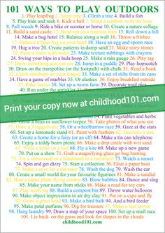 101 Ways to Play Outdoors printable poster available to print in two sizes for homes or early learning centres | Childhood 101