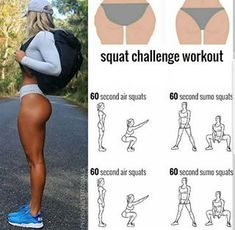 Squat challenge workout to tone your glutes! Fitness Workouts, Summer Body Workouts, Fitness Workout For Women, Toning Workouts, Body Fitness, Fitness Motivation, Health Fitness, Workout Tips, Bikini Body Workout Plan