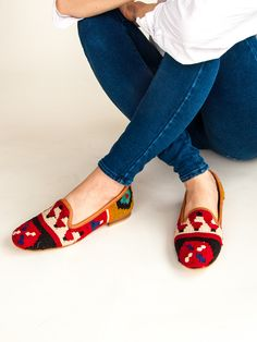 All Women's shoes- artisan made, luxury crafted from around the world every week. Beautiful styles for spring from raffia ballet flats to colorful embroidered sneakers. Red Pattern, Turkish Kilim Rugs, Italian Fashion, Ruby Red, Moccasins, Ballet Flats, Loafers, Shoes, Touch
