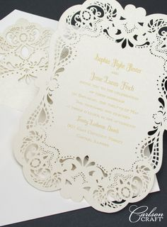 "Wedding planning -Something luxurious Wedding invitations with touches of luxury make a big impression. Carlson Craft offers exquisite papers, foil stamping, glitter printing, letterpress, laser cutting and more for invitations that ""wow"". Laser Cut Wedding Invitations, Wedding Stationary, Wedding Invitation Cards, Wedding Cards, Diy Wedding, Laser Cut Invitation, Invitation Design, Foil Stamping, Envelopes"