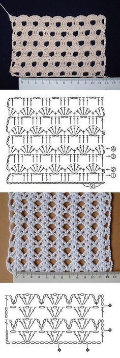 """Crochet diamond stitch """" Unfortunately no tutorial or link (comes from a closed Russian…"""", """"Simple but pretty crochet pattern. Even shows the repeat."""","""
