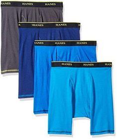e6b2c4f488b9 Hanes Men's 4-Pack Cool Comfort Breathable Mesh Long Leg Boxer Brief  Assorted L #