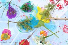 School Time Snippets: Painting with Nature Process Art Activity Nursery Activities, Craft Activities For Kids, Crafts For Kids, Fun Arts And Crafts, Expressive Art, Hand Art, Process Art, Nature Paintings, Nature Crafts