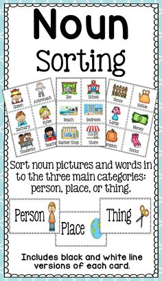 Noun Picture Sort - Person, Place, or Thing Students will love sorting these… Nouns Kindergarten, Teaching Nouns, Kindergarten Language Arts, Homeschool Kindergarten, Homeschooling, Nouns First Grade, First Grade Reading, Autism Classroom, Future Classroom