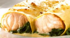 Cannelloni Filled With Salmon And Spinach Recipe featured on Food2Fork. #food2fork #recipe #salmon