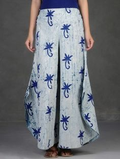 White-Indigo Dabu-Printed Elasticated-Waist Cotton Palazzos
