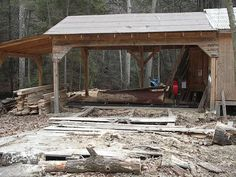 Modifications and Tricks with Small Bandsaw Mills Lumber Mill, Wood Mill, Portable Saw Mill, Bandsaw Mill, Building A Pole Barn, Chainsaw Mill, Barns Sheds, Shed Design, Le Moulin