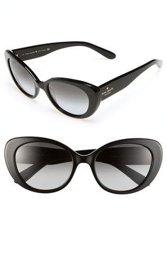 kate spade new york 'franca' cat's eye sunglasses Black/ Grey One Size in Black Essentials from Nordstrom on shop.CatalogSpree.com, your personal digital mall.