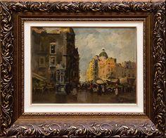 Angelo Canone - Paisagem com casarios (Itália) - o.s.m. assinado c.i.d med. 30 x 40 cm sem moldura e