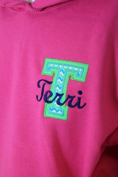 Memento - Personalized Monogrammed Gifts - Monogrammed Hoodie with Chevron Initial and Name, $42.00 (http://www.shopmemento.com/monogrammed-hoodie-with-chevron-initial-and-name/)