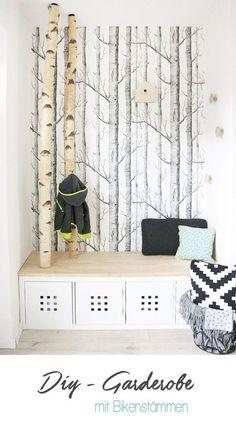 Selbst Gebaute Neue Garderobe Mit Birkenstämmen